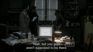 Chuck bảo sự việc Cas và Dean xuất hiện vốn không có trong kịch bản định sẵn của thiên đường.