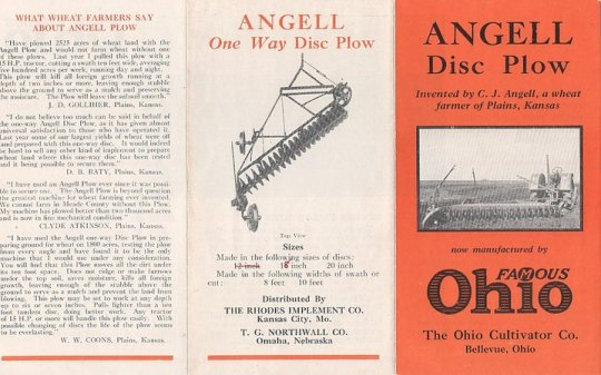 A brochure for the Angell One-Way disc plow, marketed by the Ohio Cultivator Company