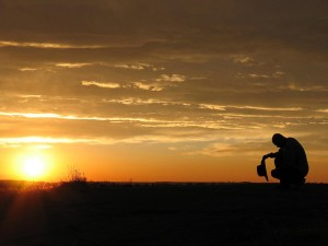 cowboy prayer sunset landscape