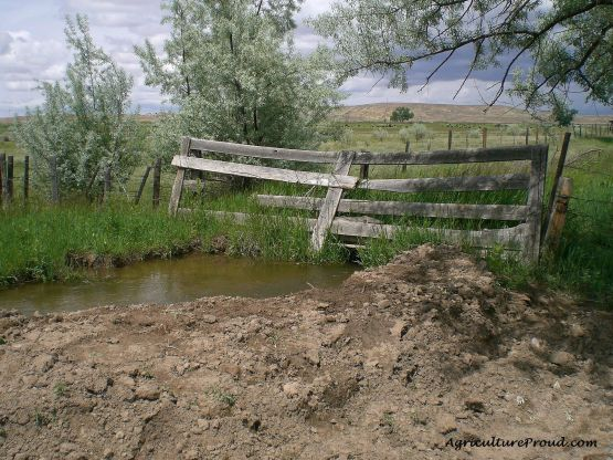 old livestock fence over irrigation ditch