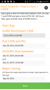 Creating a Timed AI breeding schedule on the UT Beef Cattle Repro app.