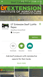 Android Dashboard on the UT Beef Cattle Repro app.