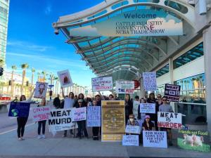 San Diego Protesters during the 2016 Cattle Industry Convention. Note they set up on the far end of the Convention Center, the opposite end where all of the meetings and trade show took place.