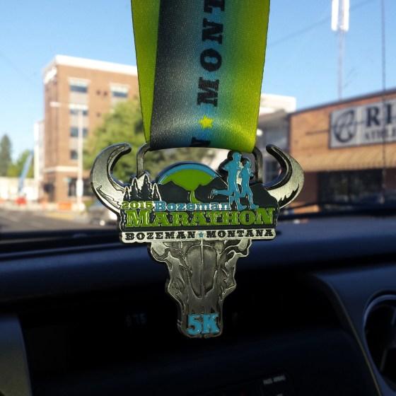 running bozeman 5k finish medal