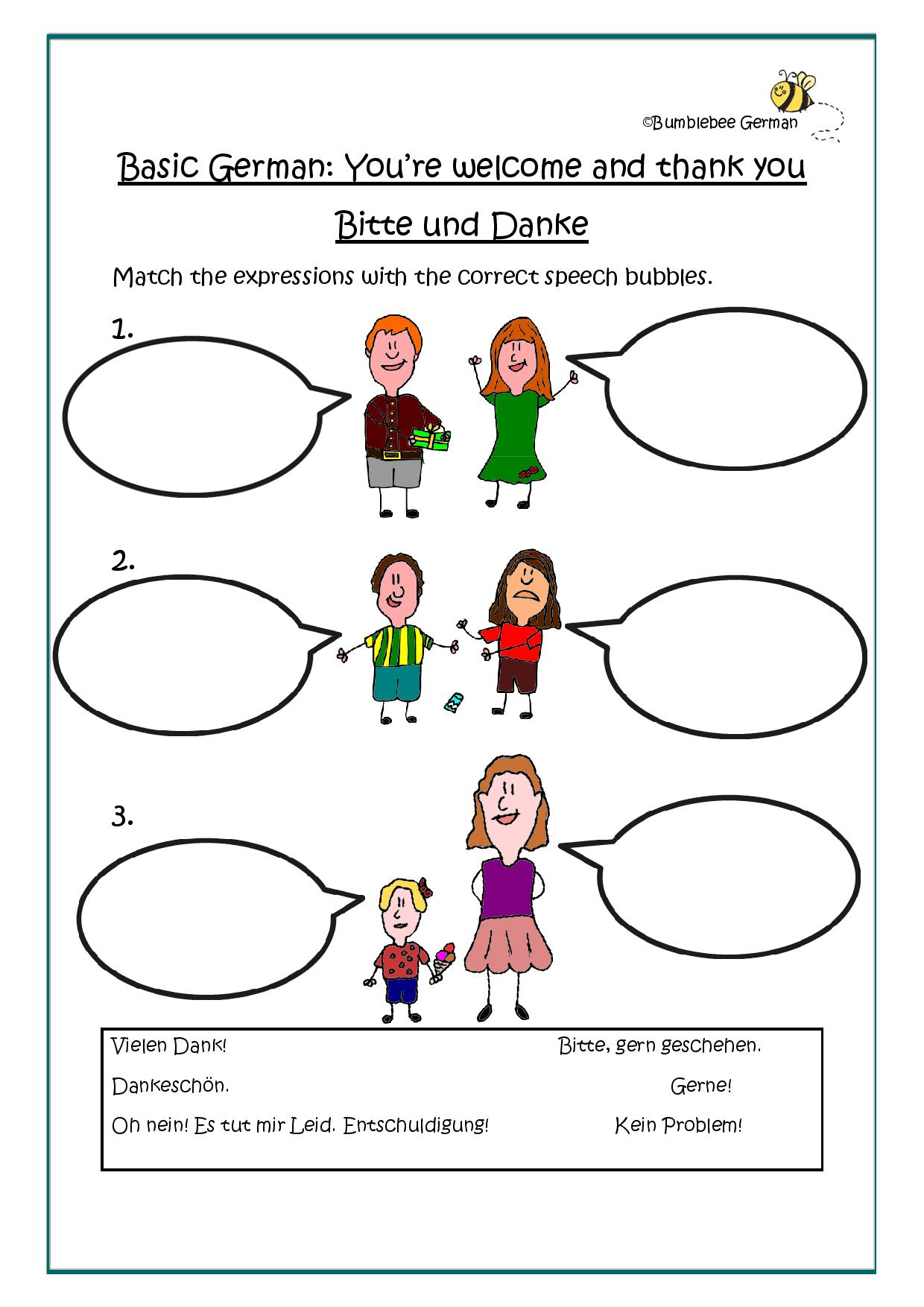 German Worksheet You Re Welcome And Thank You Bitte Und