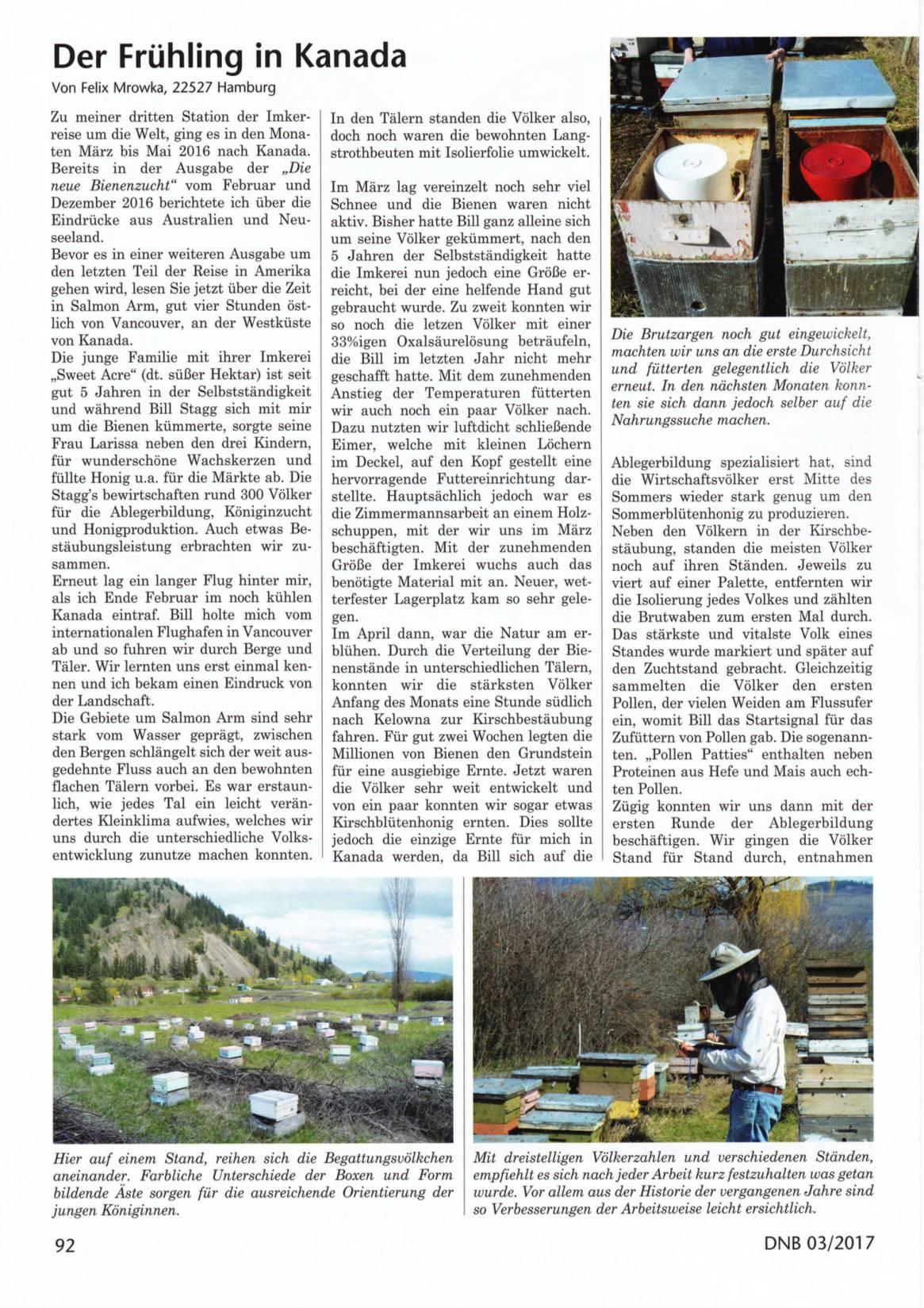 Artikel Der Frühling in Kanada Seite 1 Die Neue Bienenzucht Felix Mrowka