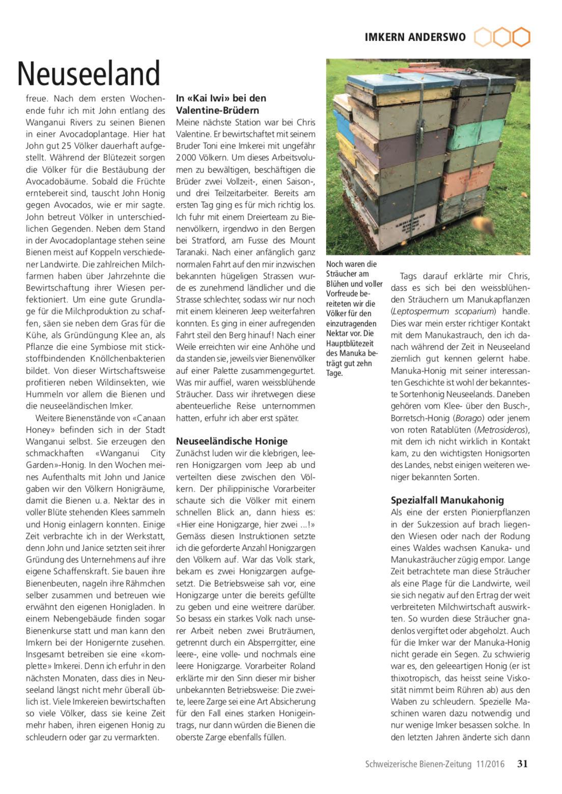 Artikel Imker auf Weltreise-zweite Station: Neuseeland Seite 2 Schweizerische Bienenzeitung Felix Mrowka