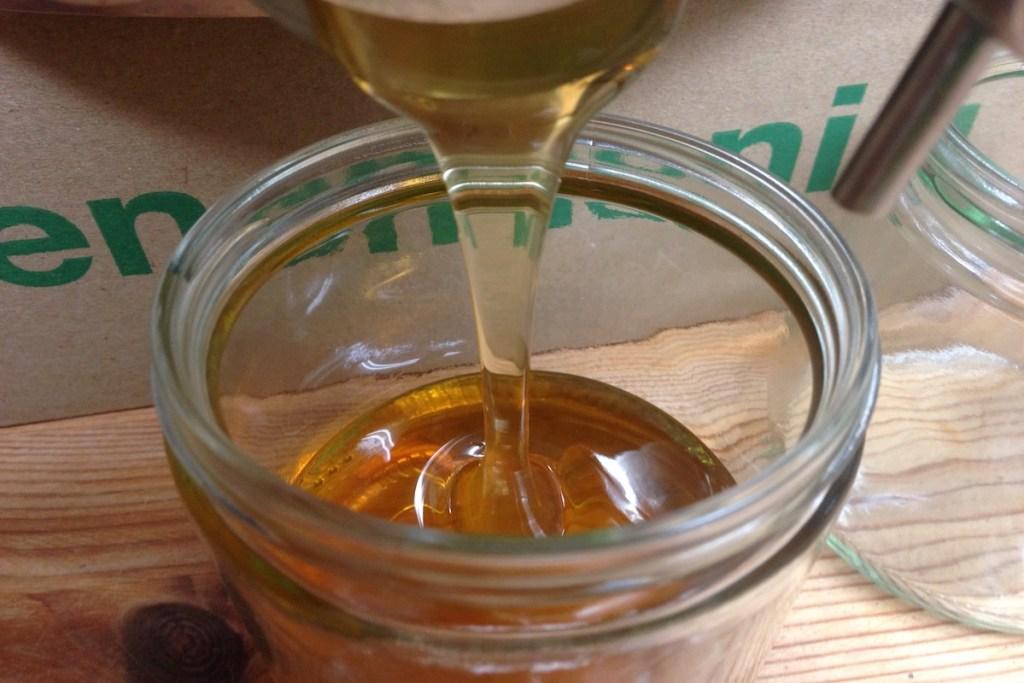 Honig wird in ein Neutralglas gefüllt