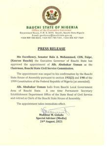 Gov. Bala appoints new Chairman Bauchi State Civil Service Commission!