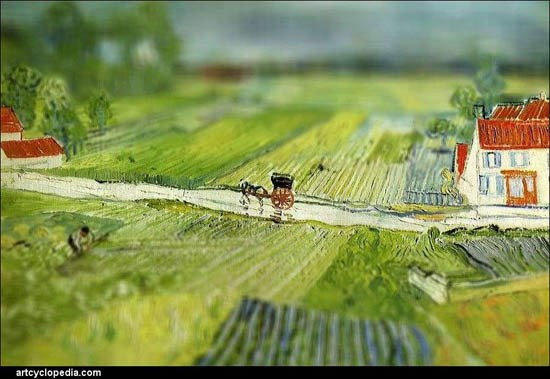 Van Gogh Tilt Shift Paysage à Auvers après la pluie