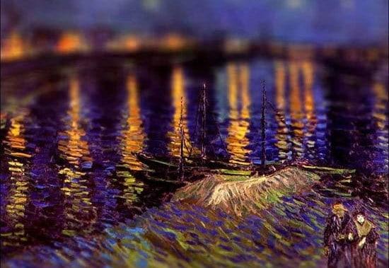 Van Gogh Tilt Shift Nuit étoilée au dessus du Rhone