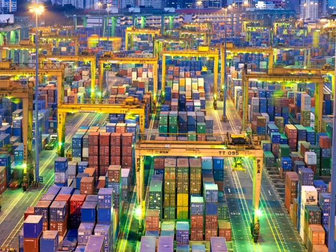 Shipping Containers, Singapore by Justin Guariglia