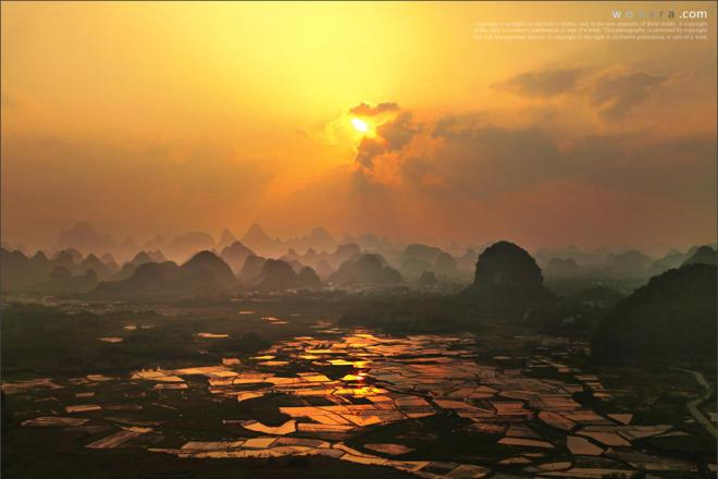 Sunset of Putao township in Guilin
