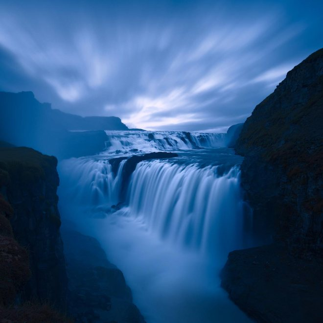 Gullfoss at dusk ©Jerome Berbigier