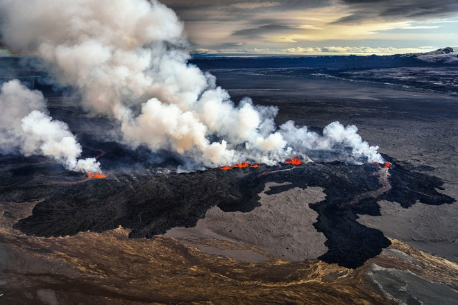 Lava and plumes from the Holuhraun Fissure by the Bardarbunga Volcano, Iceland. Sept. 1, 2014