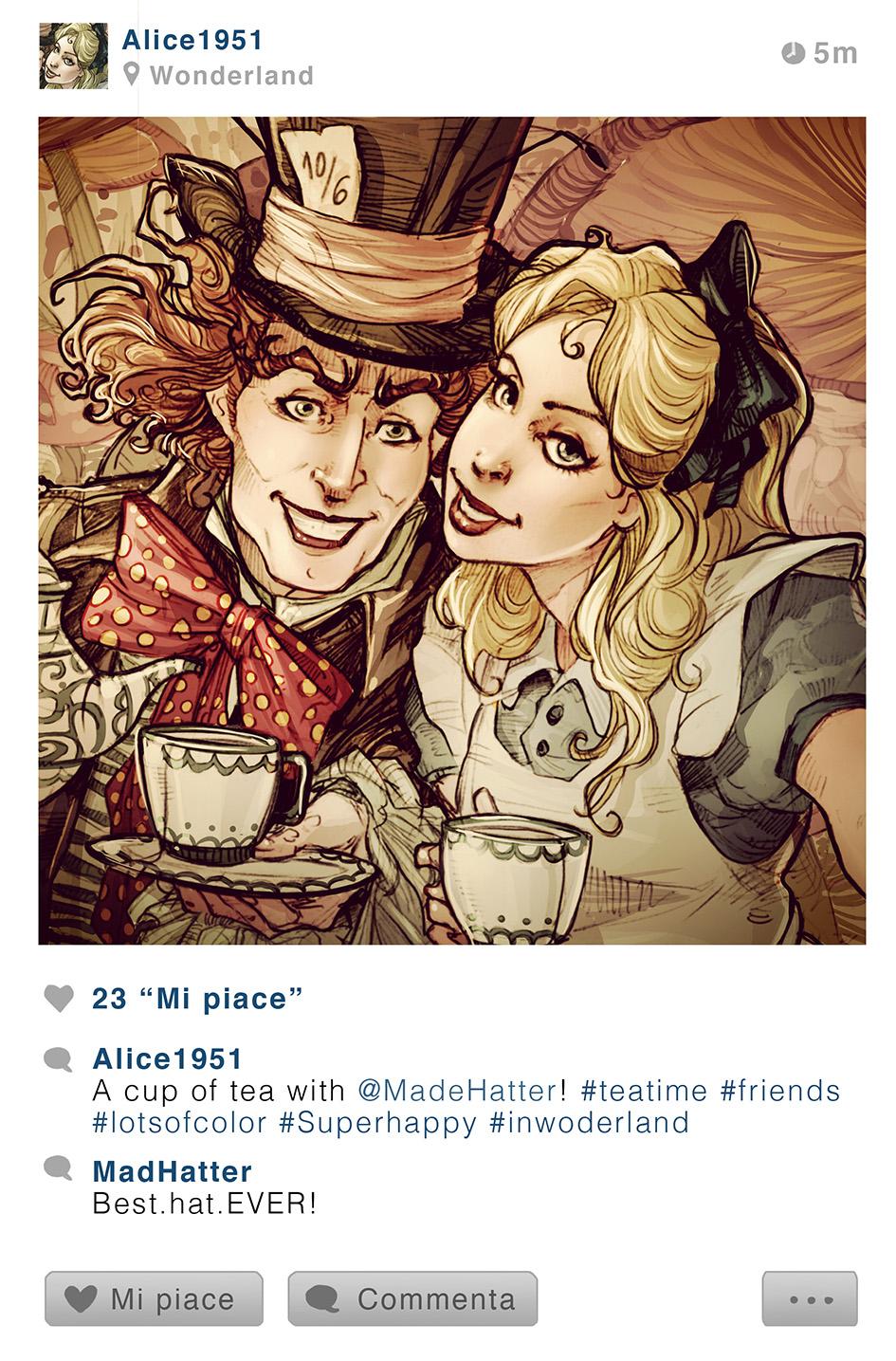 Le Chapelier et Alice - Alice aux Pays des Merveilles - Disney Selfie - Simona Bonafini