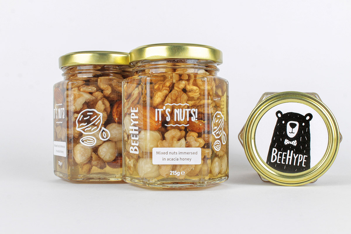 BeeHype It's Nuts! mixed nuts immersed in 100% pure raw Acacia Honey jars
