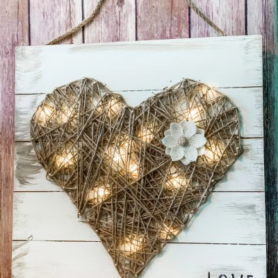 DIY Rustic String Art Heart