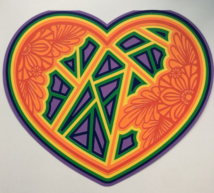 Rainbow 3D Mandala Heart - First colour way