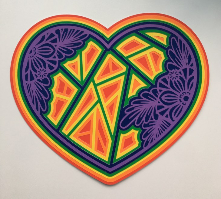Rainbow 3D Mandala Heart - second colour way