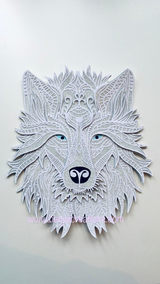 3D Mandala Grey Wolf - Layered SVG - Glitter Effect