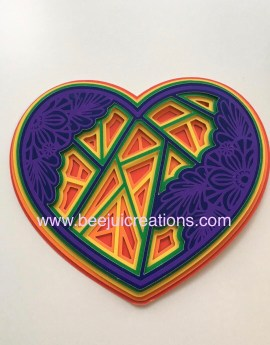 Rainbow 3D Mandala Heart - small