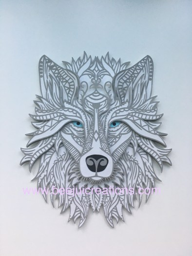 3D Mandala Grey Wolf - Layered SVG