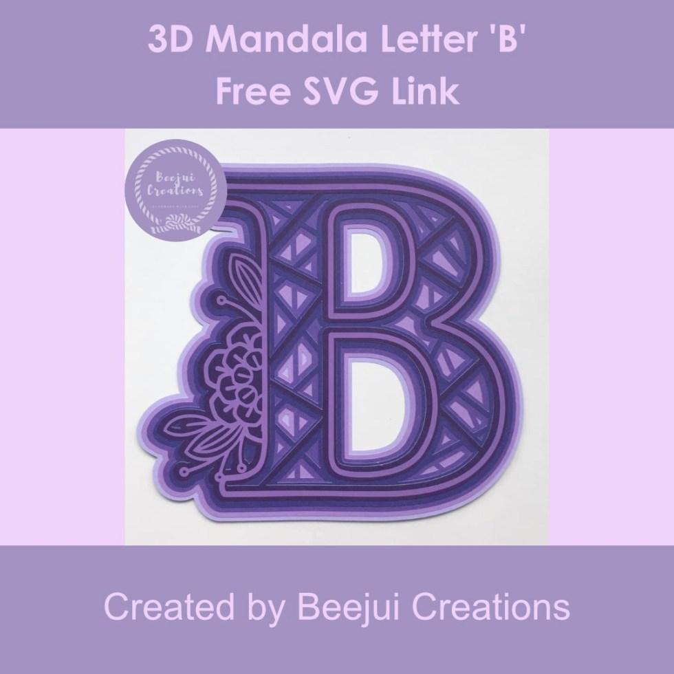 3D Mandala Letter 'B' - Free SVG Link