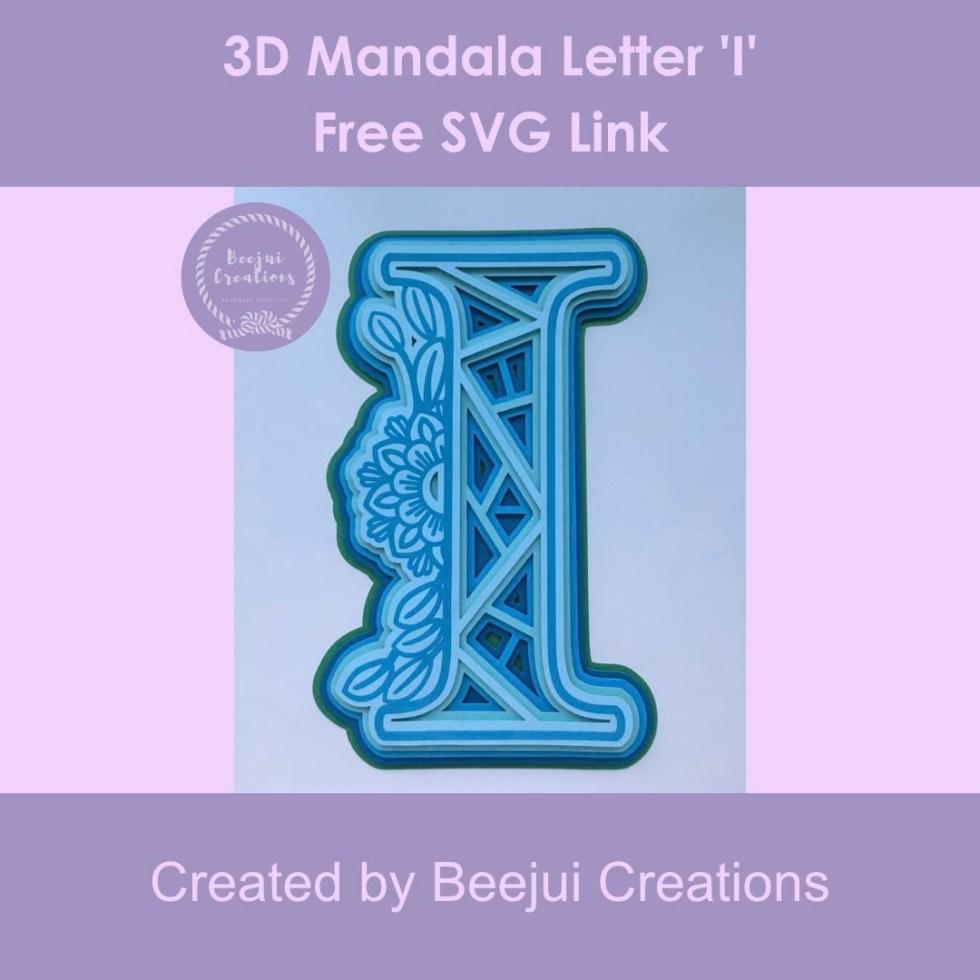 3D Mandala Letter 'I' - Free SVG Link
