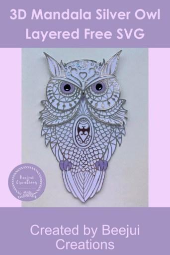 3D Mandala Silver Owl - Layered Free SVG
