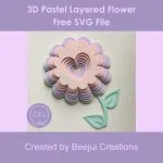 3D Pastel Layered Flower - Free SVG File