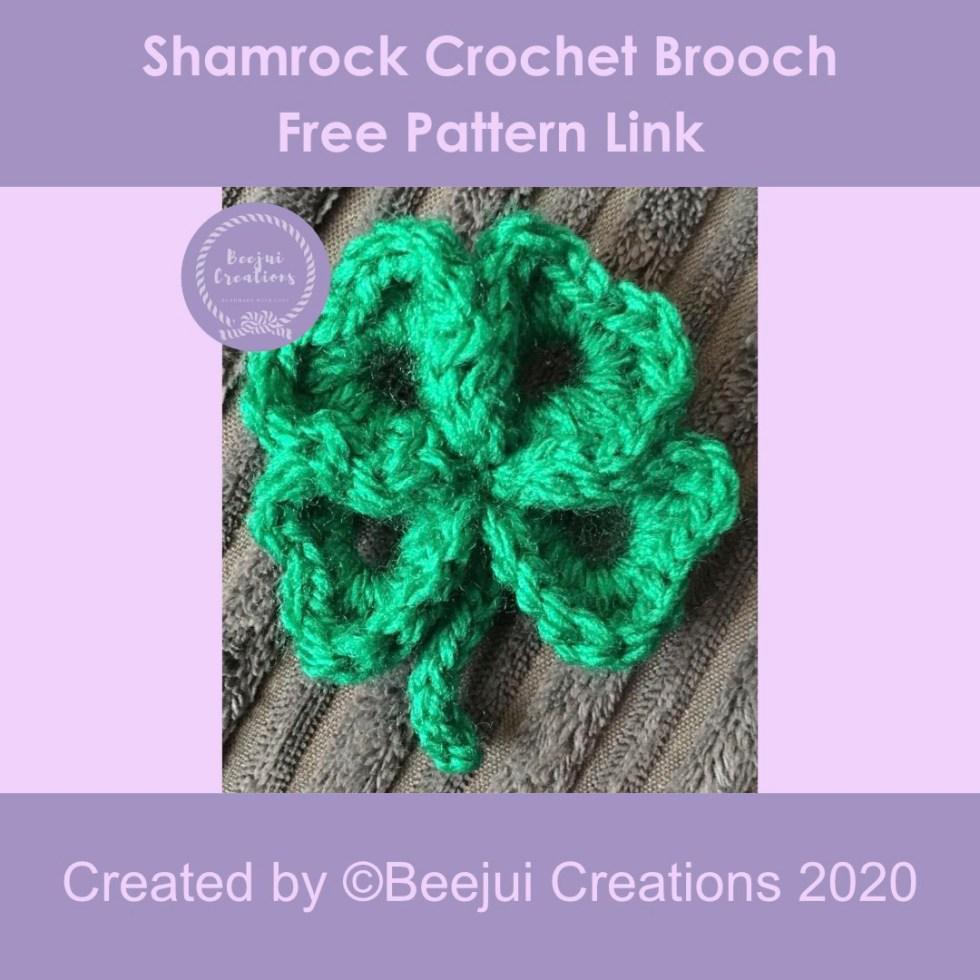 Shamrock Crochet Brooch Pattern - Free Link