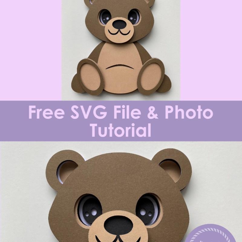3D Layered Brown Bear - Free SVG File & Tutorial