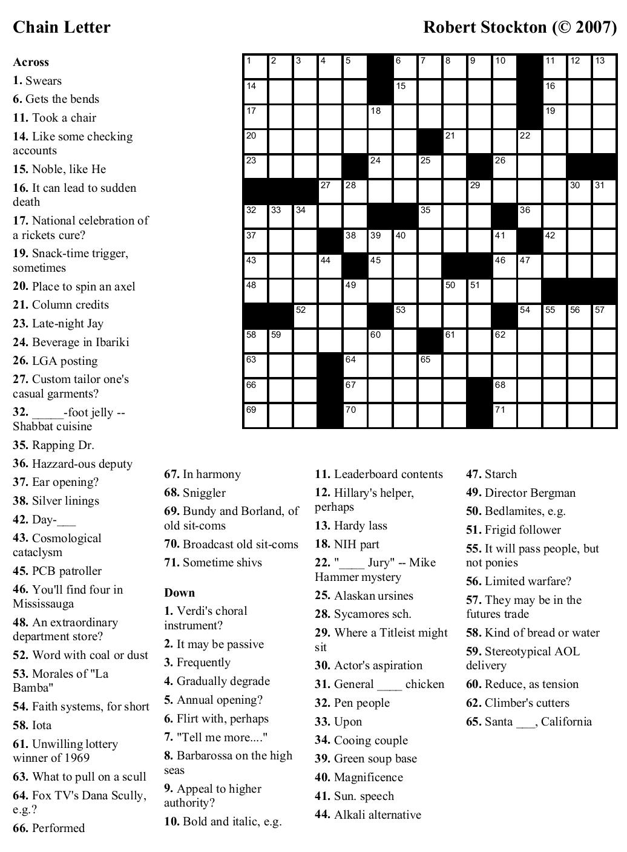 Beekeeper Crosswords Blog Archive Puzzle 31 Chain