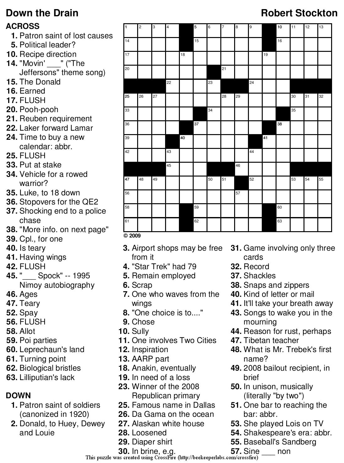 Free Printable Large Print Crossword Puzzles For Seniors