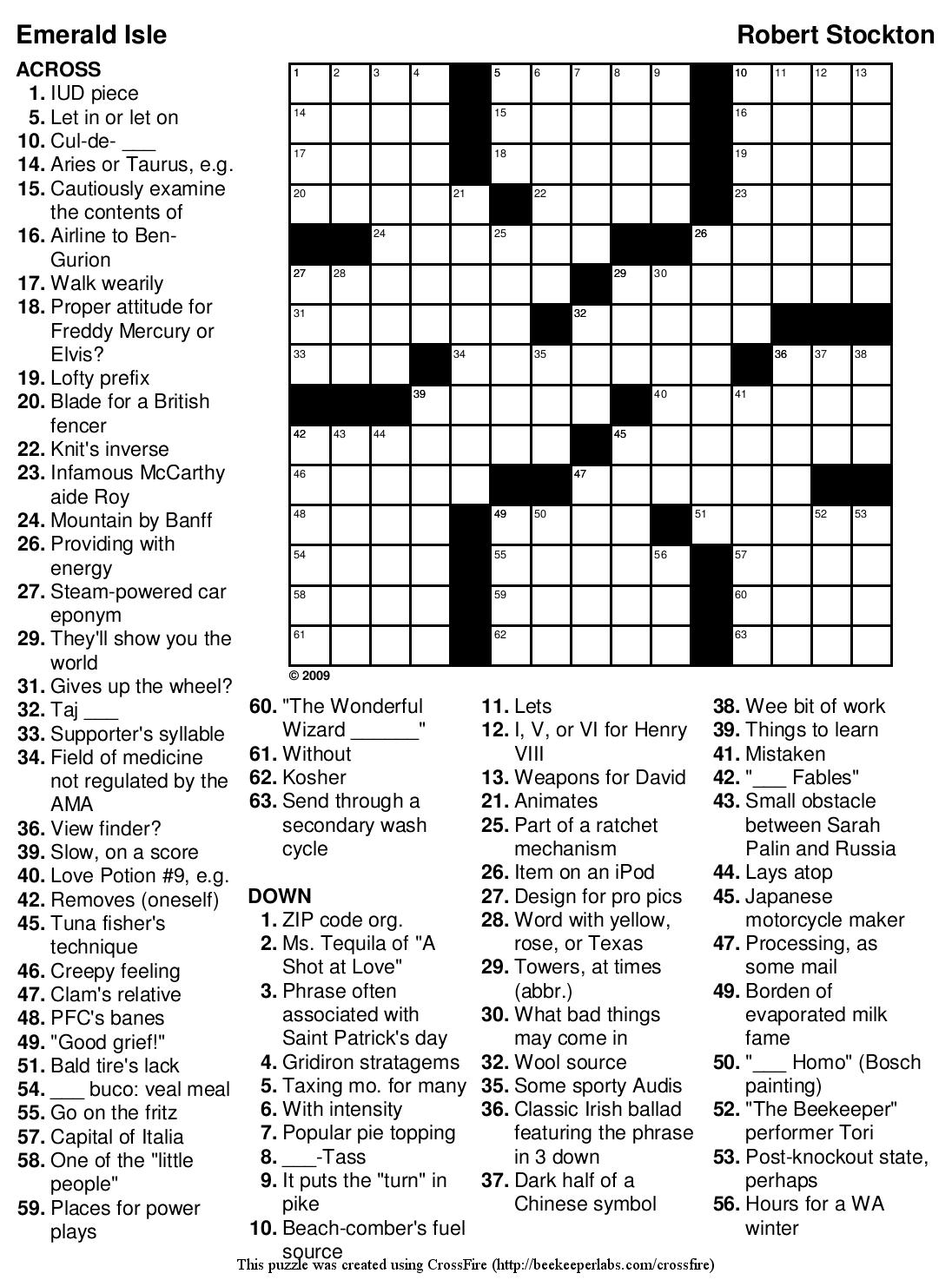 Easy Crossword Puzzle Worksheet