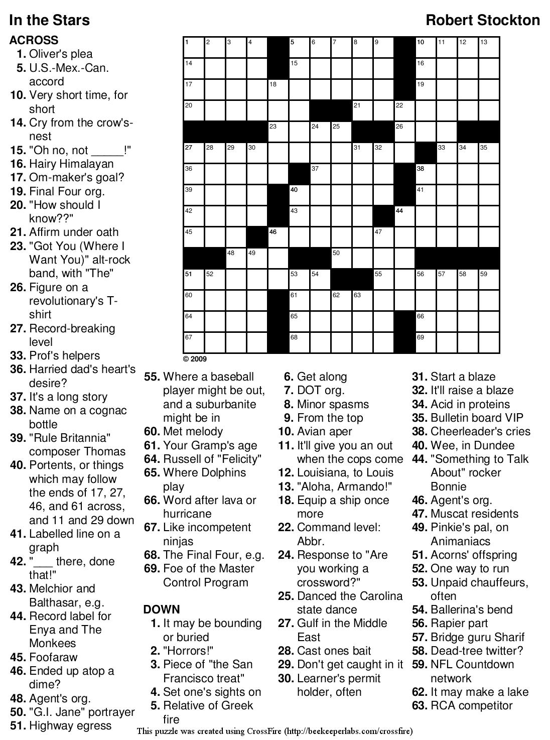 Easy Crossword Puzzles Movie Stars