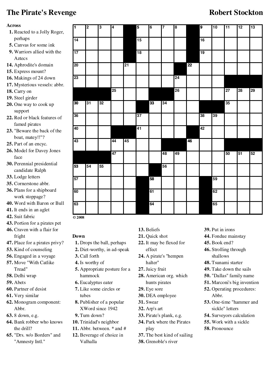 Hunting Crossword Puzzles