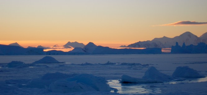 frozen seas and the sun glow as spring returns