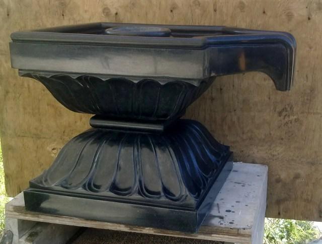 panipitha in black granite with Lotus Motif