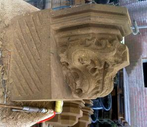 precarving the leaves on a corbel in tuff