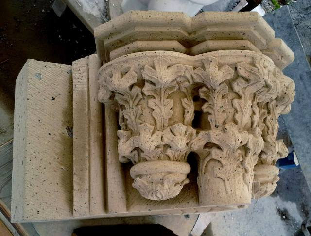 a tufa block with three capitals for The renewal of the South Portal of the Stevenskerk
