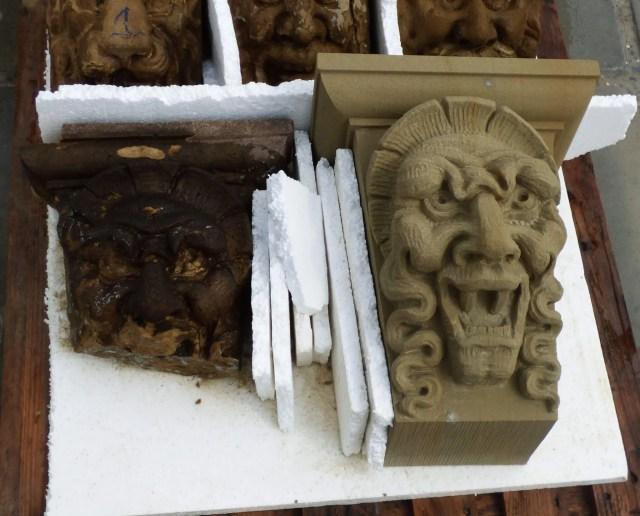 Grotesque in Udelfanger Sandstein, Original und Kopie