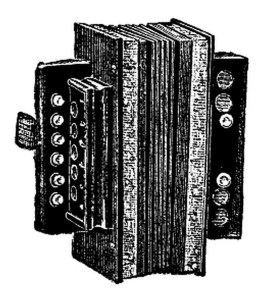 melodeon, black and white drawing