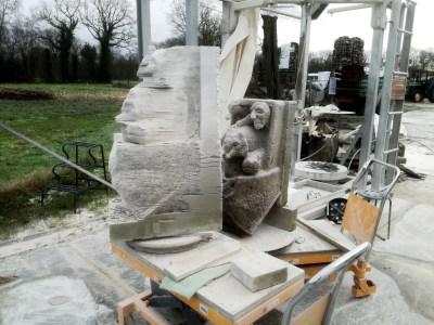 ark with a zoo, Presawn in new Muschelkalk limestone