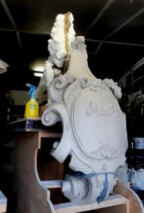 modeling in clay of griffin shield