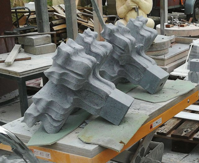 Two new finials for the Aachen Cathedral in Irish bluestone