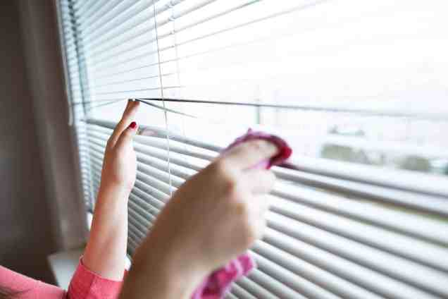 Hand of young woman cleaning blinds by pink cloth