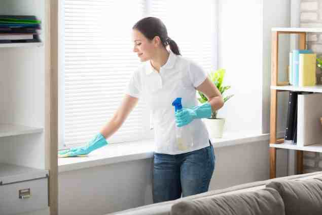 Happy Young Woman Cleaning The Window Sill With Rag At Home