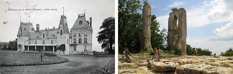 Château de Boves then (left) and now (right). I did say the battle was ferocious.